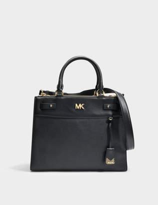 MICHAEL Michael Kors Mott Uptown Large Satchel Bag in Black Small Pebble Leather