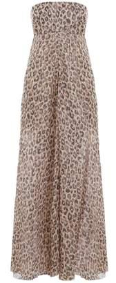Zimmermann Melody Strapless Long Dress in Leopard