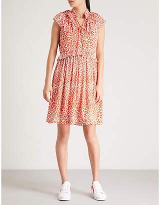 Maje Rutti leopard-print chiffon mini dress