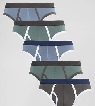 Asos Design Briefs In Tonal Blue And Green 5 Pack SAVE