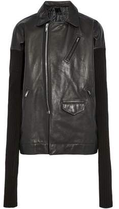 Rick Owens Ribbed Knit-Paneled Leather Biker Jacket