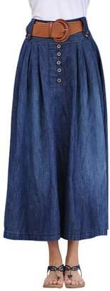 Wincolor Women's Plus Size Maxi Full Blue Pleated Swing Denim Jean Skirt