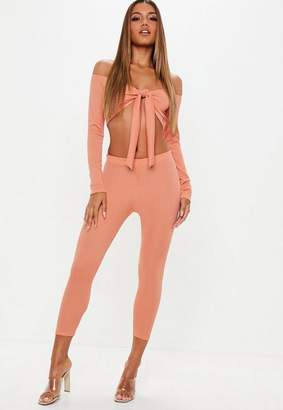 Missguided Terracotta Ribbed Leggings and Tie Front Crop Top Co-Ord