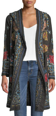 Johnny Was Sakara Hooded Duster Jacket with Embroidery