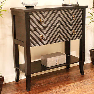 Heather Ann Heirloom Black/Grey Chevron 2 Drawer Accent Chest