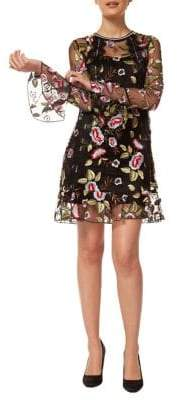 Dex Embroidered Poet-Sleeve Shift Dress