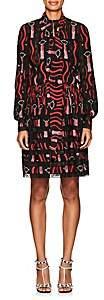 Valentino WOMEN'S LIPSTICK-PRINT SILK SHIRTDRESS-LIPSTICK BLACK SIZE 2