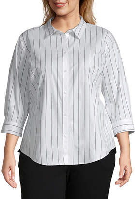 Liz Claiborne 3/4 Sleeve Button Front Shirt - Plus