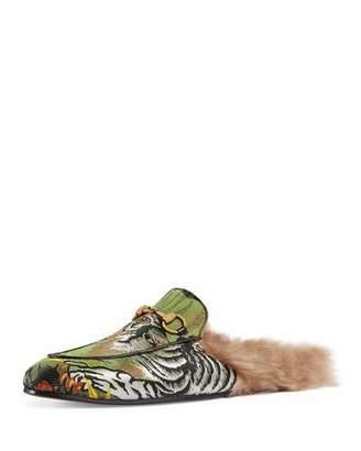 Gucci Princetown Tiger Jacquard Fur-Lined Slipper $895 thestylecure.com