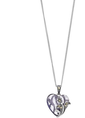 Tori Hill Sterling Silver Purple Glass & Marcasite Heart Pendant