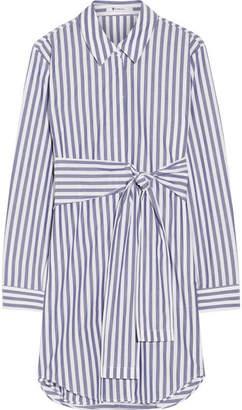 T by Alexander Wang - Tie-front Striped Cotton-poplin Mini Dress - Blue $375 thestylecure.com