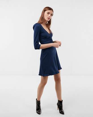 Express Petite Deep V-Neck Ruffle Hem Fit And Flare Dress