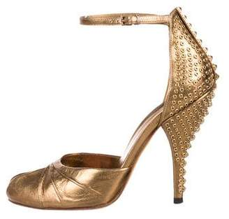 Gucci Embellished Peep-Toe Pumps