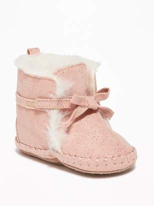 Old Navy Faux-Suede Sparkle Booties for Baby