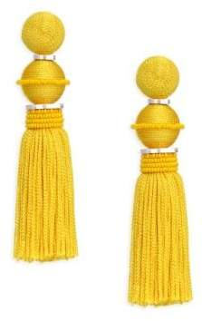 Oscar de la Renta Ball Tassel Clip-On Drop Earrings