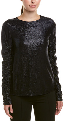 Tibi Lurex Draped Silk-Lined Top