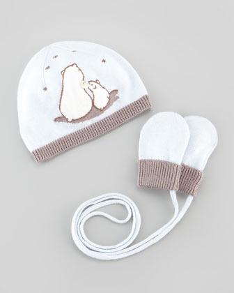 Tartine et Chocolat Newborn Polar Bear Hat & Mittens Set, Light Blue