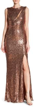 Isabel Garcia Slit Sequin Gown