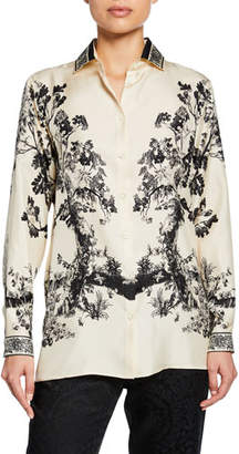 Etro Etched Forest Print Silk