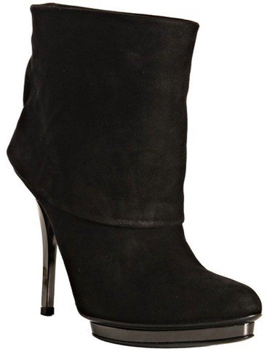 Gucci black suede 'Velvet' cuffed platform boots