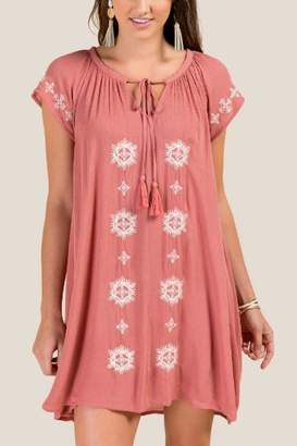francesca's Tiana Embroidered Shift Dress - Rose
