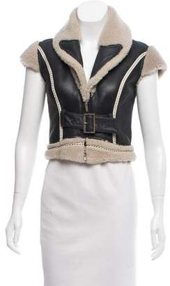 Matthew Williamson Shearling-Trimmed Leather Vest