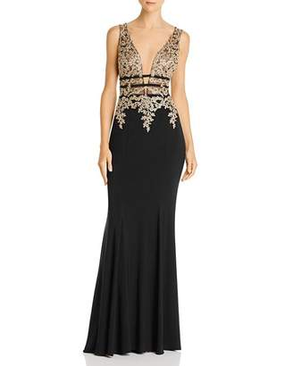Aqua Plunging Embellished Gown - 100% Exclusive