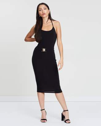 Missguided Lion Buckle Tie Neck Midi Dress