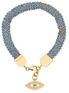 Assya Gold and Blue Weaved Bracelet with Eye Charm of Length 18cm