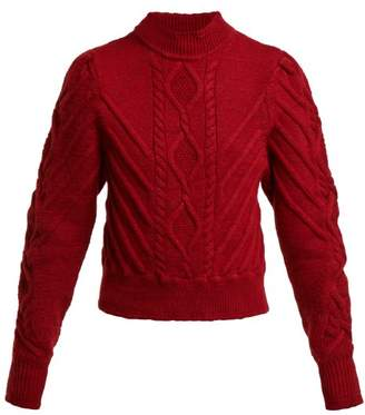 Isabel Marant Brantley Aran Knit Cotton Sweater - Womens - Burgundy
