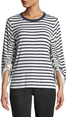 Kobi Halperin Larissa Breton-Stripe Cinch-Sleeve Top
