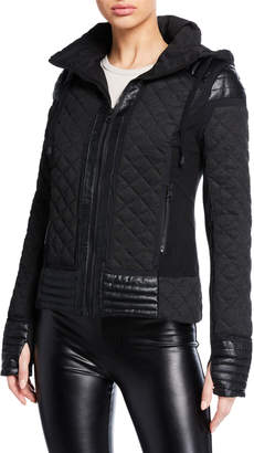 Blanc Noir Hooded Mesh Inset Moto Active Jacket