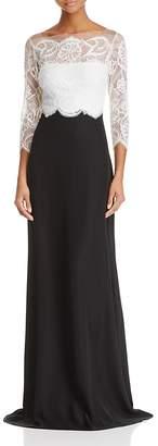 Tadashi Shoji Lace Top Gown $428 thestylecure.com