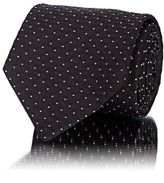 Barneys New York Men's Rectangle-&-Dot Silk Jacquard Necktie - Black