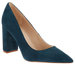 Marc Fisher Leather or Suede Block Heeled Pumps- Viviene
