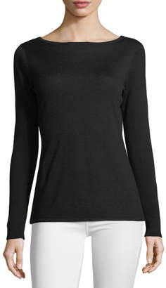 Neiman Marcus Silk-Cashmere Blend Sweater with Cut-Out Slits along Arms