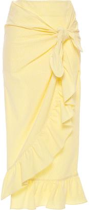 Vivetta Camoscio Ruffled Seersucker Midi Skirt $415 thestylecure.com