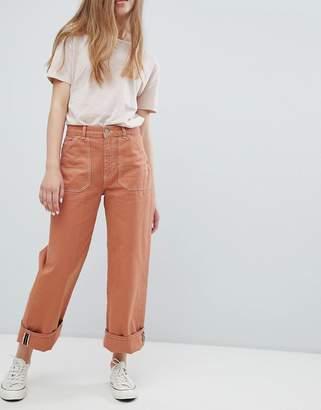 Pull&Bear denim two-piece wide leg jeans in terracota