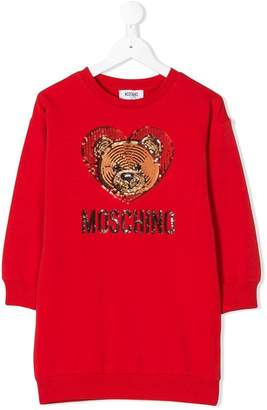 Moschino Kids teddy sequinned heart logo dress
