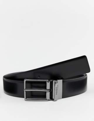 HUGO Galvo-g one size leather logo keeper belt in black