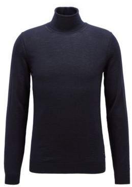 BOSS Hugo Turtleneck sweater in extra-fine Italian merino wool M Open Blue