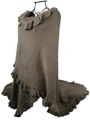 Nice & Great Luxury Women Ruffle Edge Poncho Knitted Shawl Premium Lady Soft Knit Cape Jacket Fashion Scarf Stretchy Wrap Over Solid Color Girl Large Shawl Elegant Cloak Warmer, Mocha
