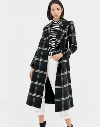 Warehouse double breasted tailored coat in green check