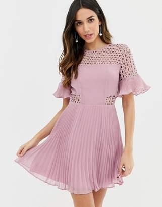 Asos DESIGN lace insert pleated mini dress