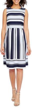 Studio 1 Sleeveless Stripe Fit & Flare Dress