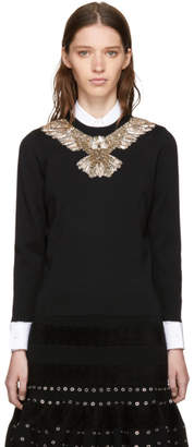 Alexander McQueen Black Embroidered Eagle Sweater