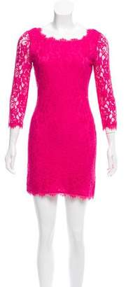 Diane von Furstenberg Lace-Trim Mini Dress