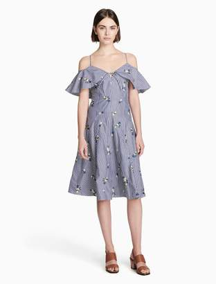 Calvin Klein floral embroidered strapless fit + flare dress