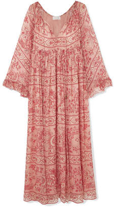 Zimmermann Castile Printed Silk-crepon Maxi Dress - Antique rose