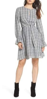 Sam Edelman Plaid Knot Front Fit & Flare Dress